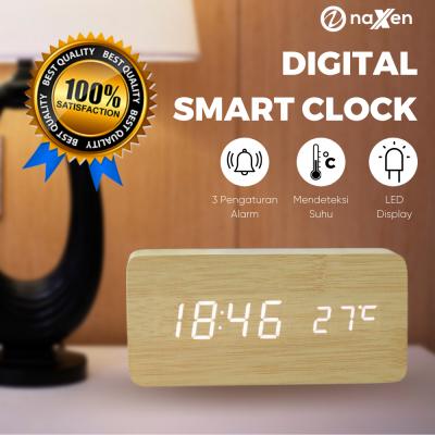 Souvenir jam meja kayu digital untuk branding merek bisnis